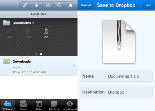 zip and share to dropbox