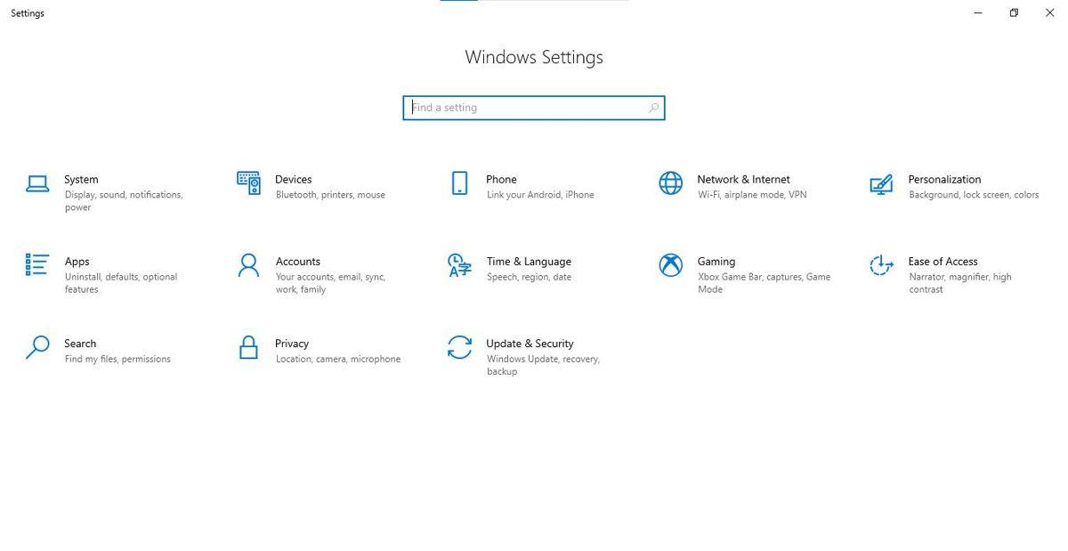 Настройки Windows 10 через меню Пуск
