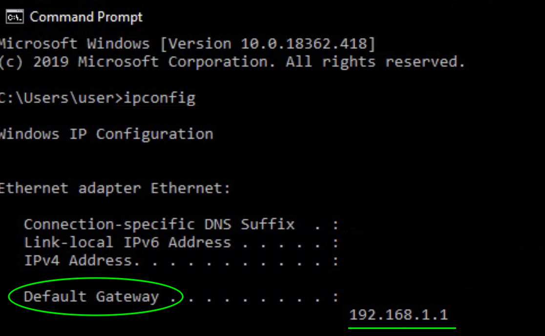ipconfig command prompt