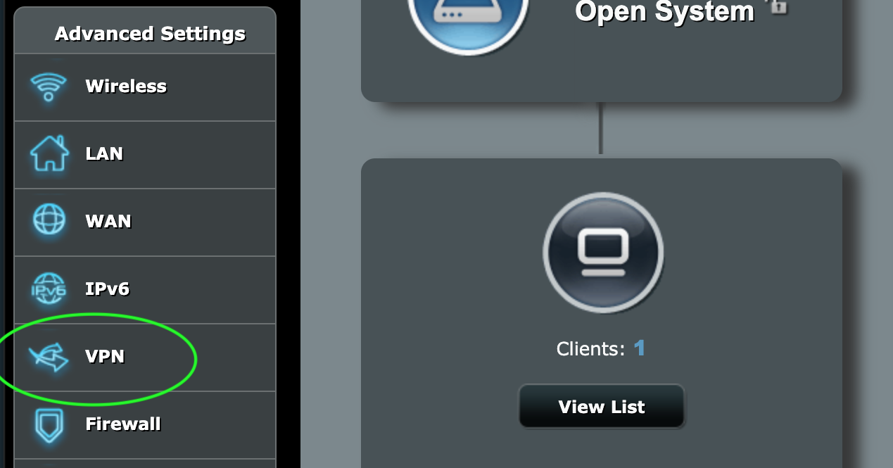 Router admin section with the VPN menu higlighted