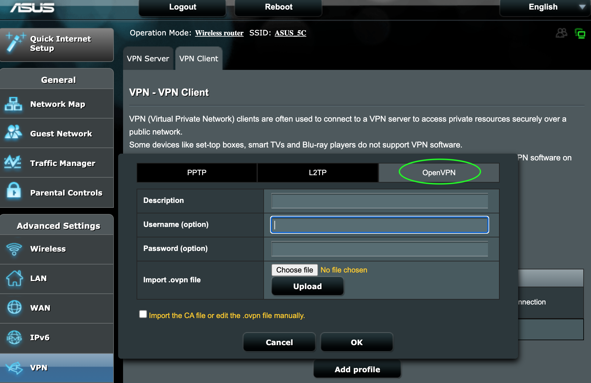VPN popup window with fields to fill in the username, password, description and to import the OpenVPN configuration.