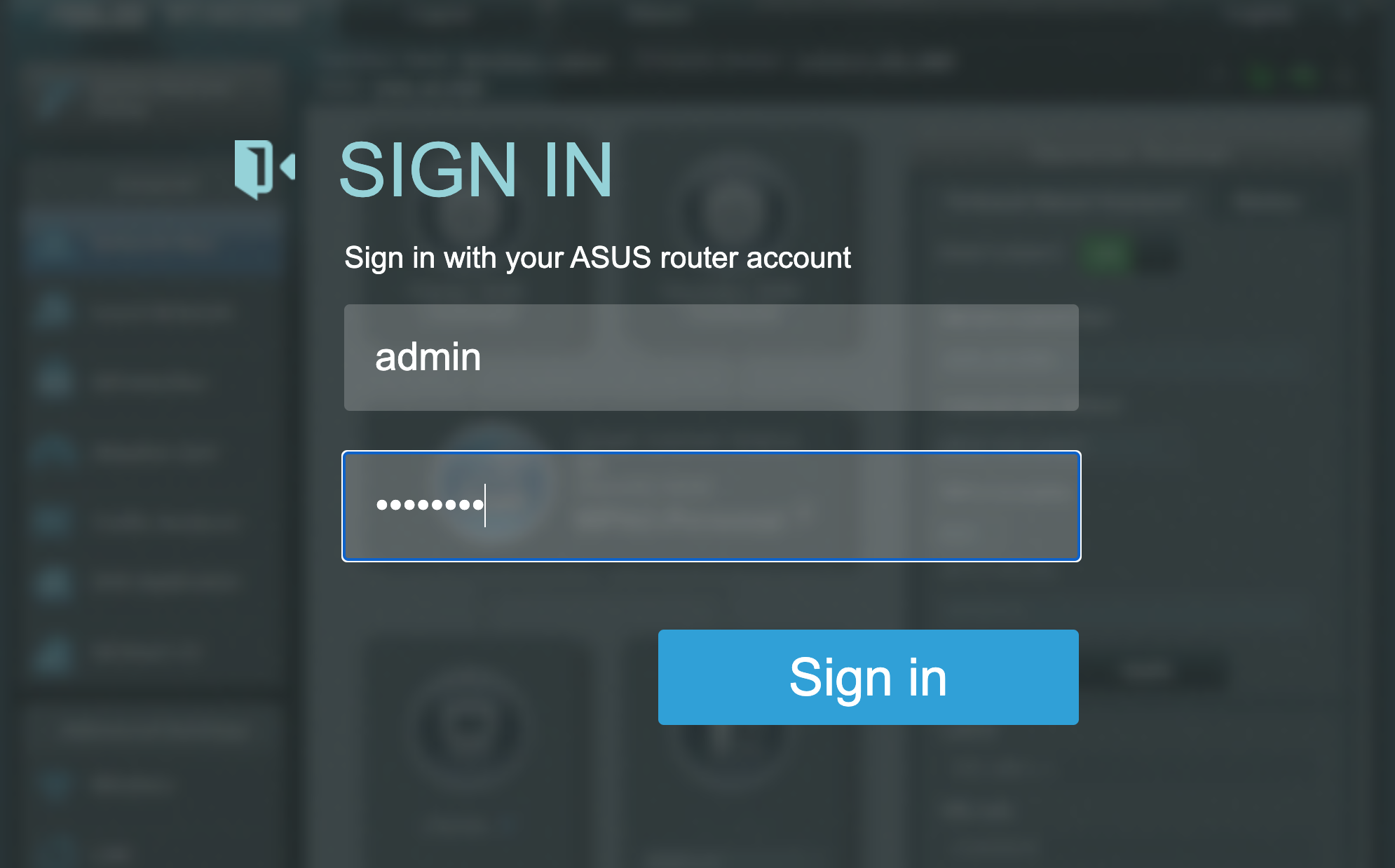 Router login screen, showing two fields to input the username and password