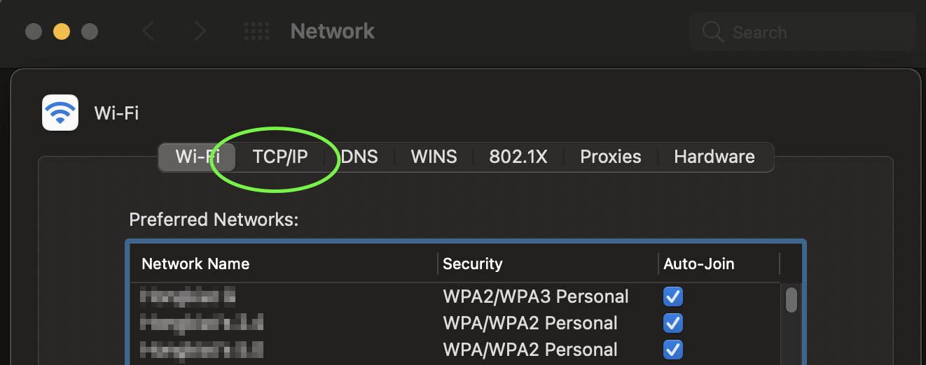 Wi-fi section on the network window showing sub-section navigation such as TCP/IP, DNS, and WINS