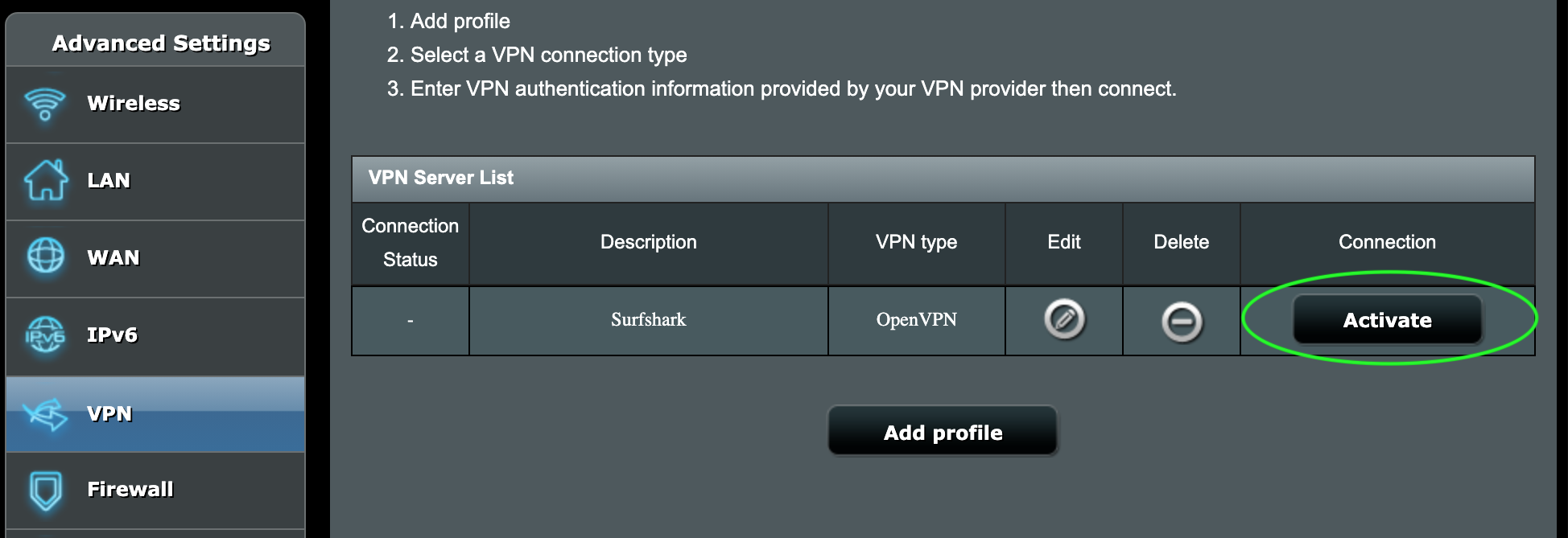 VPN table list with the button to activate