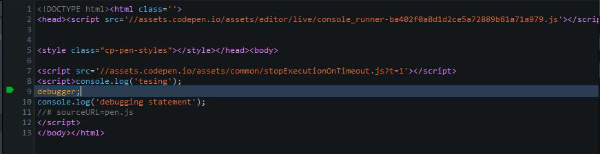 debugger output