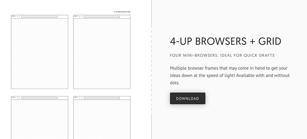 Printable grids for design wireframing