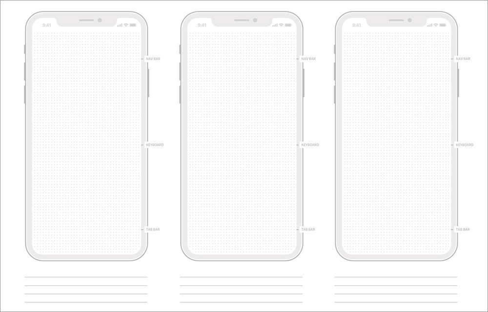 iPhone X Wireframe Templates