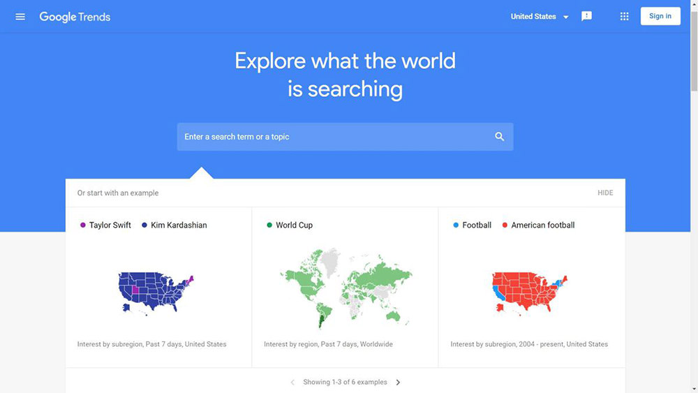 Google Trends helps analyzing search trends