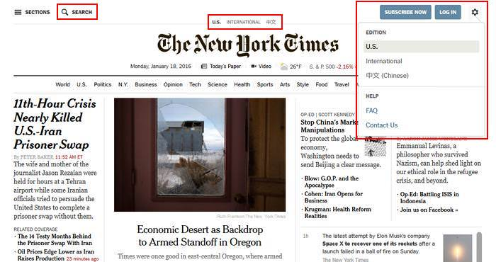New York Times Utility Navigation