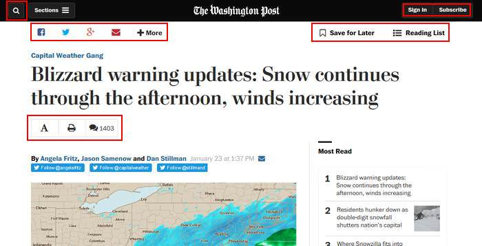 Washington Post Utility Navigation