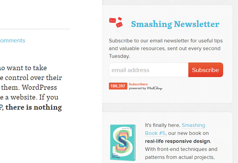 smashing magazine newsletter signup
