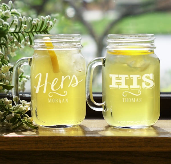Engraved His or Hers Mason Jar