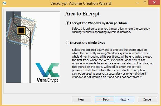 Area to encrypt