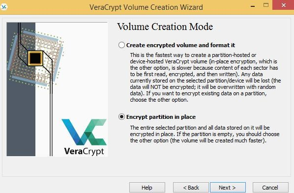 Encrypt partition in place