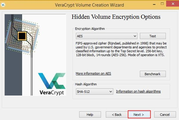 Hidden volume encryption options