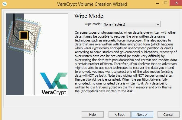 Wipe mode for system encryption
