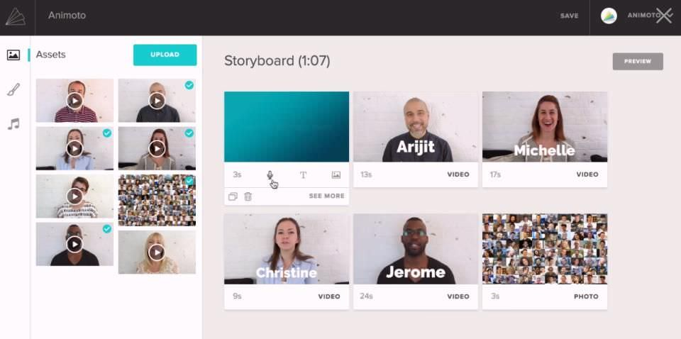 Animoto's easy storyboard editor