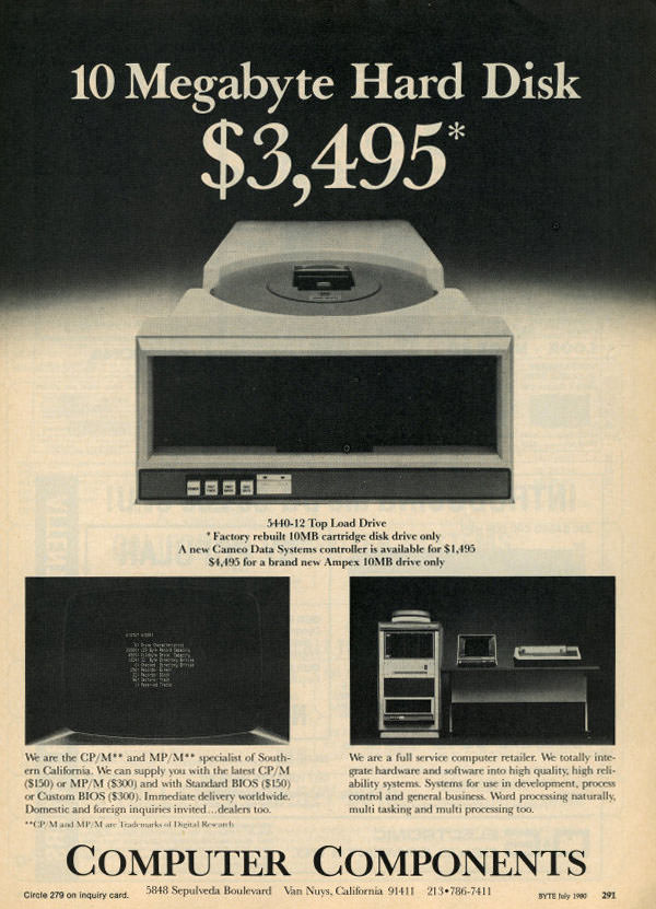 $3,459 for 10 Megabytes Hard Disk