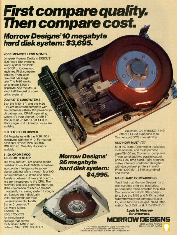 10 Megabyte Hard Disk System: $  3,695