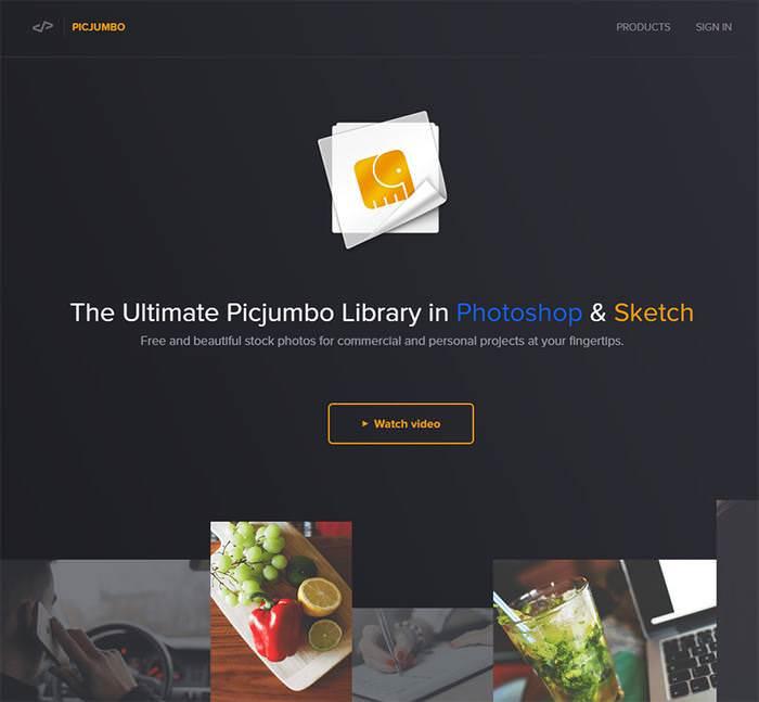 picjumbo page design homepage