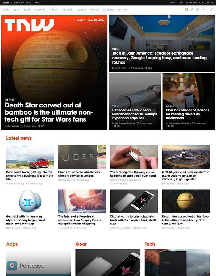 the next web homepage design