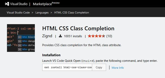 HTML CSS Class Completion