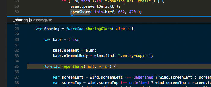 The Peek feature in action in Visual Studio Code