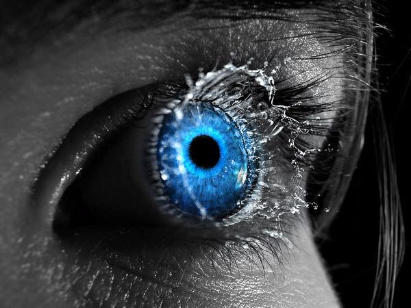 eye with water splash