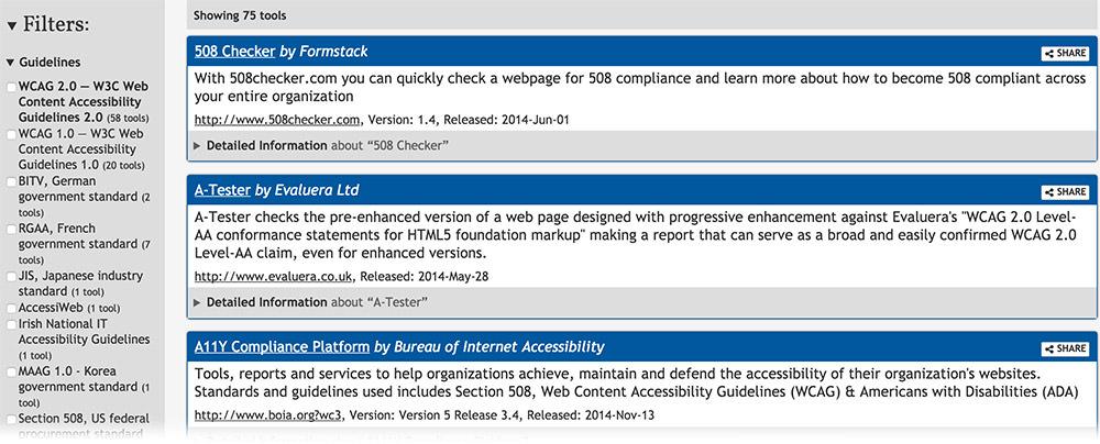Web Accessibility Evaluation Tools List