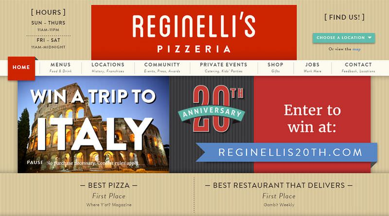 Reginelli's Pizza Website