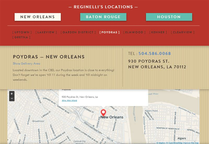 Reginelli's Locations Page