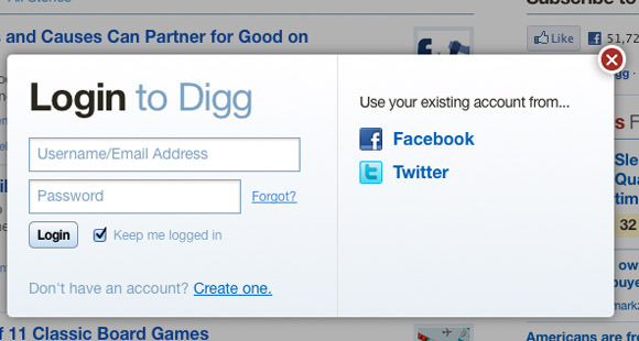 Digg v4 template popup login box