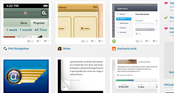 Dribbble Screenshot Thumbs