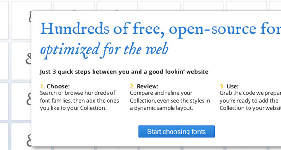 Google web fonts picker/chooser menu