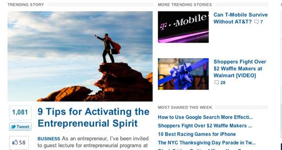 Mashable online magazine layout design