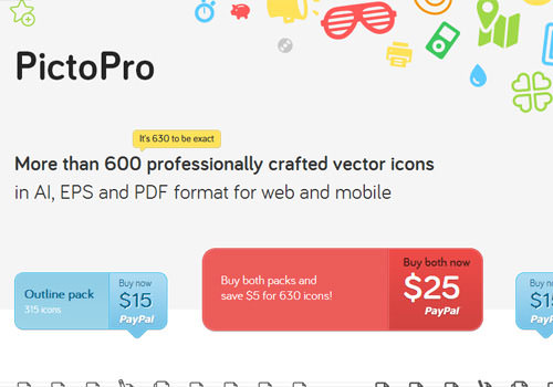 PictoPro website icons buy set vectors