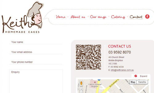 Keith Cakes Bakery contact QR code snapshot