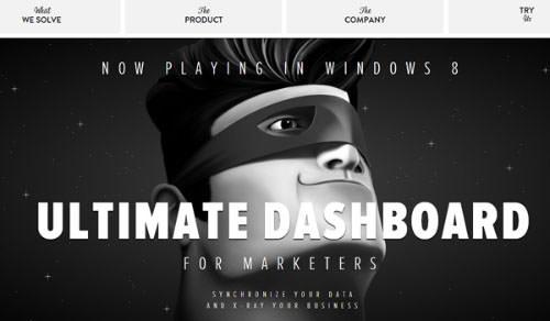Captain Dash website layout sliding panels webpage