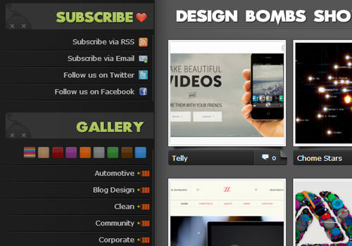 DesignBombs css website layout gallery vertical links