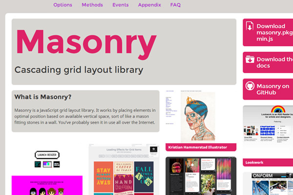 jquery masonry open source project homepage