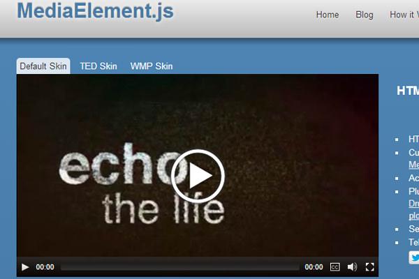 media element js video audio html5 library