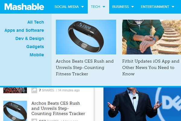mashable dropdown mega navigation screenshot preview