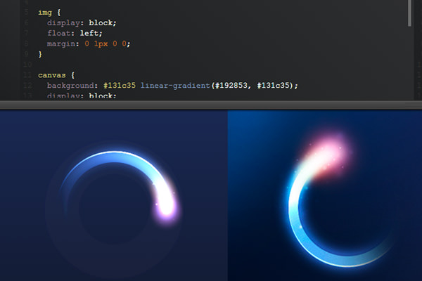 canvas css3 glowing rotating loader animation
