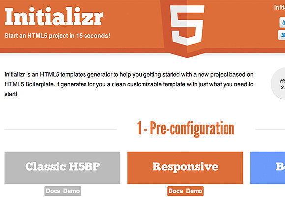 Initializer pre-code template for HTML5 boilerplate