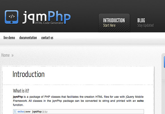 jqmPhp documentation for jQuery Mobile