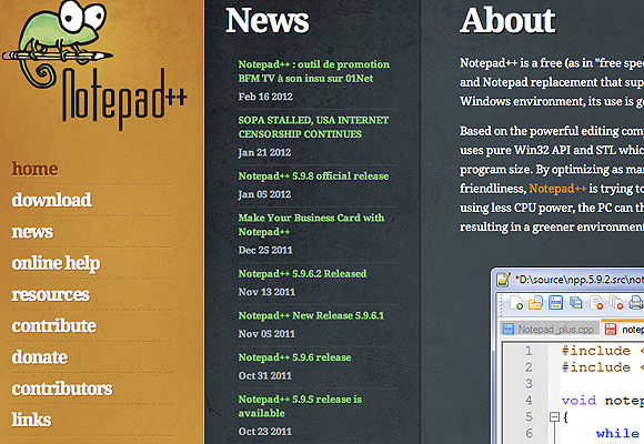 Notepad++ for Windows XP/Vista/7