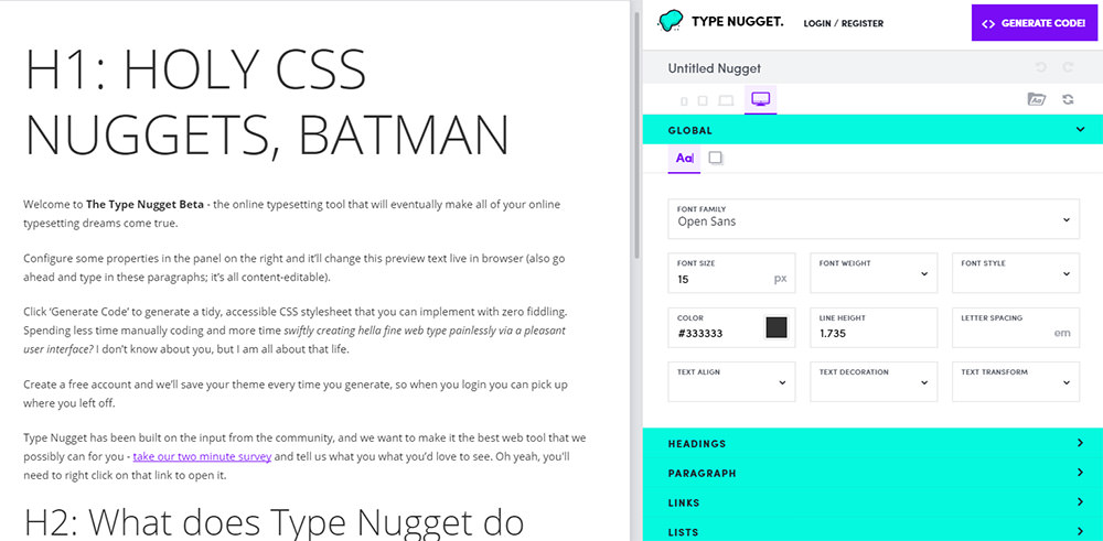 type nugget homepage