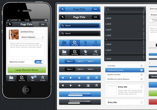 Fresh iPhone ui kit freebie download psd