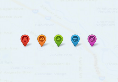 mobile map pointers pins graphics geolocation