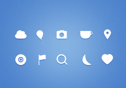 native white icons gradients freebie set